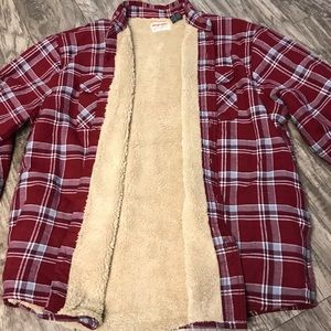 Wrangler Mens Sherpa Lined Flannel Shirt Jacket XL